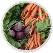 Carrots And Beets Round Beach Towel