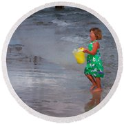 Carrying Water Round Beach Towel