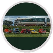 Cars And Trains Round Beach Towel