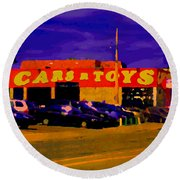 Cars R Toys Evening Rue St.jacques Used Cars Trucks Suvs Montreal Urban Scene Carole Spandau Round Beach Towel