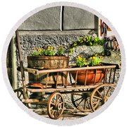 Cart And Flowers In Slovenia Round Beach Towel