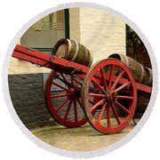 Cart Loaded With Wood Beer Barrels Round Beach Towel