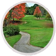 Cart Path Round Beach Towel by Frozen in Time Fine Art Photography