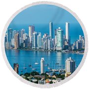Cartagena Skyscapers Round Beach Towel