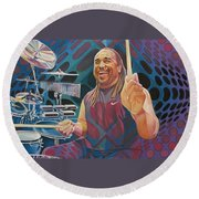 Carter Beauford-op Series Round Beach Towel
