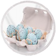 Carton Of Easter Eggs Round Beach Towel