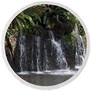 Cartoon - A Waterfall As Part Of An Exhibit Inside The Jurong Bird Park Round Beach Towel