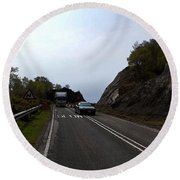 Cartoon - Car And Truck Crossing A Road Repair Section Of Highway In Scotland Round Beach Towel