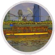 Cartoon - Colorful River Cruise Boat In Singapore Next To A Bridge Round Beach Towel