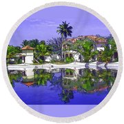 Cartoon - Cottages And Lagoon Water Round Beach Towel