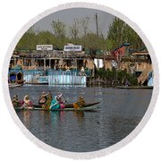 Cartoon - Ladies On 2 Wooden Boats On The Dal Lake With The Background Of Houseboats Round Beach Towel