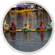 Cartoon - Ladies On A Wooden Boat On The Dal Lake With The Background Of Hoseboats Round Beach Towel