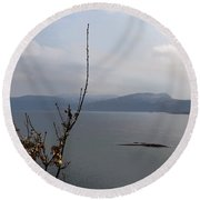 Cartoon - Plants In Front Of The Waters Of A Lake In The Scottish Highlands Round Beach Towel