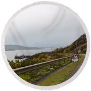 Cartoon - Road Along The Loch Alsh In The Scottish Highlands Round Beach Towel