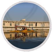 Cartoon - Shikara With Tourists Passing In Front Of A Large Houseboat In The Dal Lake Round Beach Towel