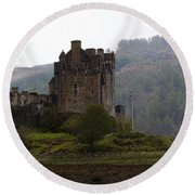 Cartoon - Structure Of The Eilean Donan Castle In Front With Dry Part Of Lake Round Beach Towel