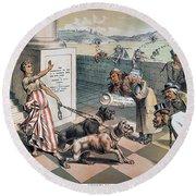 Cartoon Immigration, 1885 Round Beach Towel