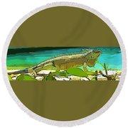 Cartoon Lizard Round Beach Towel