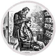 Cartoon: Phrenology, 1865 Round Beach Towel