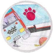 Cartoon Truck Lorry Round Beach Towel