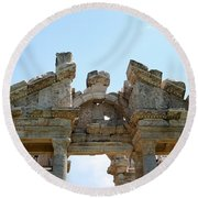 Carved Marble Of The Monumental Gate Round Beach Towel