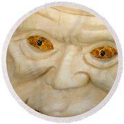Carved Pumpkin Face Round Beach Towel