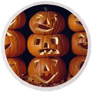 Carved Pumpkins  Round Beach Towel