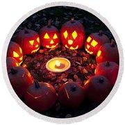 Carved Pumpkins With Pumpkin Pie Round Beach Towel