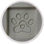 Carved Sand Paw Print Round Beach Towel