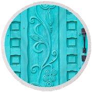 Carved Turquoise Door Round Beach Towel