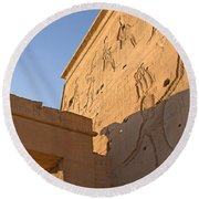 Carved Wall Of The Temple  Philae  Round Beach Towel