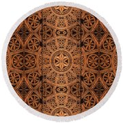 Carved Wooden Cabinet Symmetry Round Beach Towel