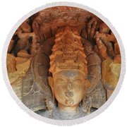 Statue At The Temple Of The 64 Yoginis - Jabalpur India Round Beach Towel
