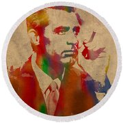 Cary Grant Watercolor Portrait On Worn Parchment Round Beach Towel