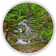 Cascade Over Mossy Rocks Along La Chute Trail In Forillon Np-qc Round Beach Towel