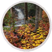 Cascade Creek  Autumn Round Beach Towel