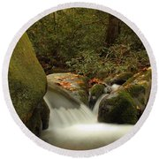 Cascades In Appalachian Mountains Round Beach Towel