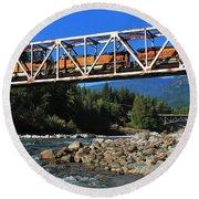 Cascades Rail Bridge Round Beach Towel