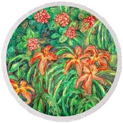 Cascading Day Lilies Round Beach Towel