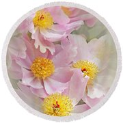 Cascading Pink Peony Flowers Round Beach Towel