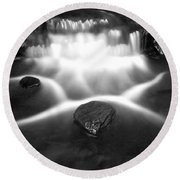 Cascading Waterfall Black And White Round Beach Towel