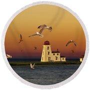 Cascumpec Lighthouse On Prince Edward Island Round Beach Towel