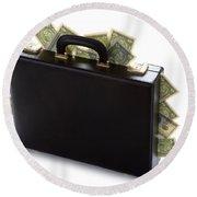 Case Full Of Money Round Beach Towel