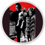 Cash Family In Red Old Tucson Arizona 1971-2008 Round Beach Towel