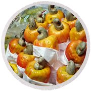 Cashew Fruit - Mercade Municipal Round Beach Towel