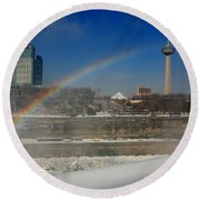Casinos And Rainbows Round Beach Towel