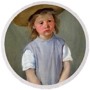 Cassatt's Child In A Straw Hat Round Beach Towel