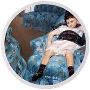 Cassatt's Little Girl In A Blue Armchair Round Beach Towel