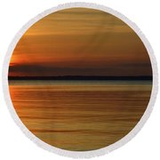Cast Away - Young Child Fishing From A Pier On The Indian River Bay As The Sun Sets Across The Water Round Beach Towel