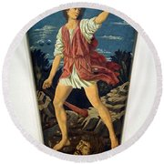 Castagno's David With The Head Of Goliath Round Beach Towel